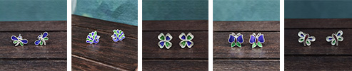 Miao Tribe 999 Silver and Enamel Earrings