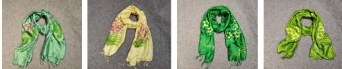 Vietnamese hand-painted silk scarf